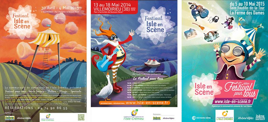 Illustrations Affiches Festival Isle-en-Scène