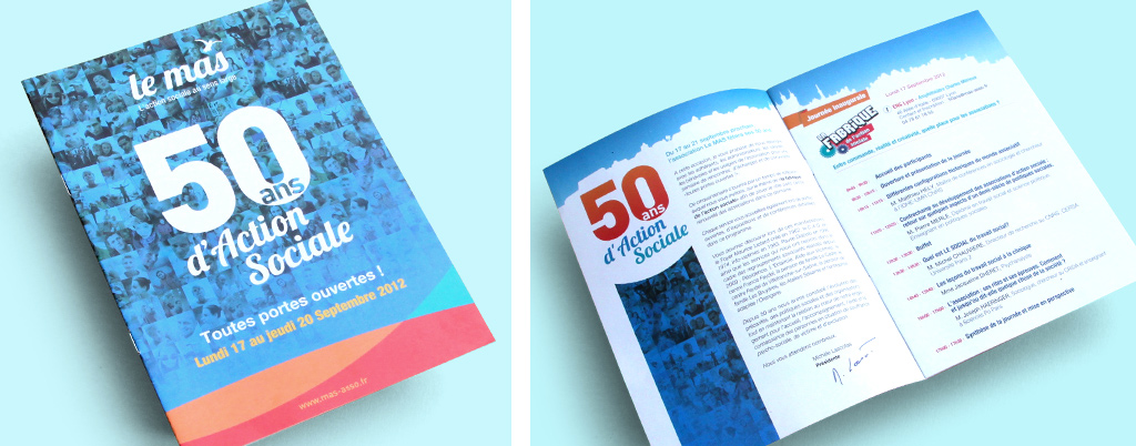 Brochure 12 pages, historique de l'Action Sociale